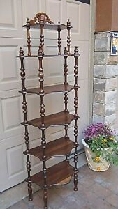 ANTIQUE FRENCH VICTORIAN CHERRY WOOD CARVED 6-SHELVES  ORNATE BOOK ETAGERE