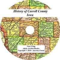 1912 History & Genealogy of CARROLL COUNTY IOWA Glidden Manning IA Families