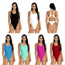 Womens One-piece Swimwear High Cut Bikinis Thong Leotard Bodysuit Swimsuit Beach