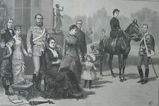 1883 Two Large Prints- Crown Prince Frederick III and Family - Berlin Parade