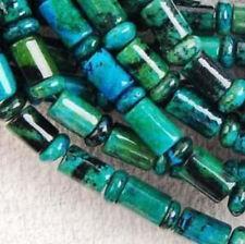 6x9mm, azurite, chrysocolle, gemme, colonne, lâche, perles, 38cm
