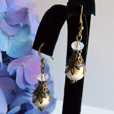 Victorian Art Nouveau Vintage Style Bronze Cream Pearl Crystal Drop Earrings