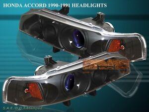 Fit For 1990-1993 HONDA ACCORD PROJECTOR HEADLIGHTS JDM BLACK 92 91