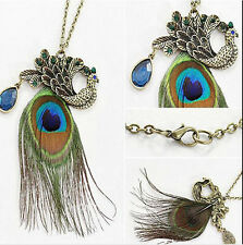 1x Women Charm Retro Peacock Feather Pendant Long Chain Vintage Sweater Necklace