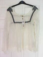 WOMENS, ROXY,  LONG SLEEVE COTTON FLOWING TUNIC TOP SIZE XS WHITE/NAVY NWT #1002