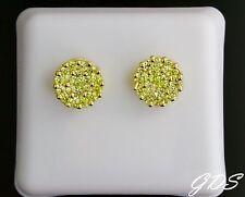 Men Women 14K Gold Tone CLUSTER Screw Back Earring Yellow Simulated Lab Diamonds
