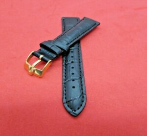 REPLACEMENT CLASSIQUE  OMEGA  LEATHER WATCH BAND BLACK WITH 19MM YELLOW BUCKLE