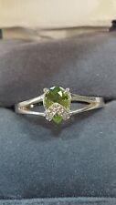 Sterling Silver w. Peridot? Green Gem cubic zirconia Woman's Ring Size 9.5