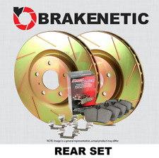 REAR BRAKENETIC SPORT SLOTTED Brake Rotors + POSI QUIET CERAMIC Pads BSK85590