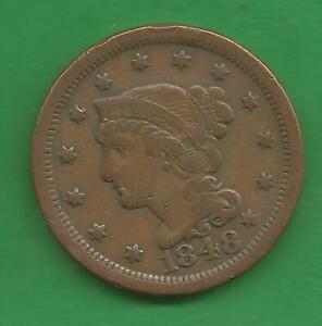 1848 BRAIDED HAIR, LARGE CENT - 173 YEARS OLD!!!