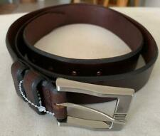 "REMU TULLIANI Chestnut Brown Genuine Leather Men's Belt Waist 44"" $100 NWOT"