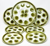 French Majolica Oyster 6 Plates & 1 Platter Green on White French Stamped