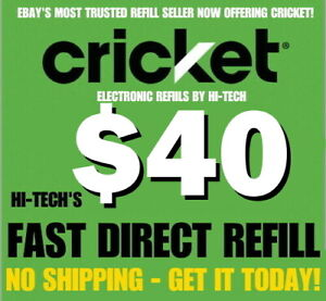 CRICKET $40 ✅ FASTEST REFILLS 💥 DIRECT to PHONE 💥 GET IT TODAY