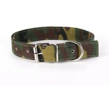 STRONG CANVAS FABRIC CAMO ARMY GREEN KHAKI PET PUPPY DOG COLLAR - FREE POSTAGE!