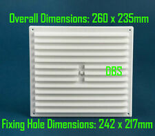 """9"""" x 9"""" White Plastic Hit and Miss Adjustable Louvre Grill Vent Wall  Air Vent"""