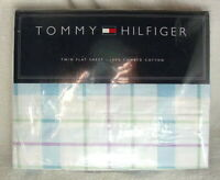 TOMMY HILFIGER TWIN Size Flat Cotton Bed Sheet LAVENDAR BLUES PLAID NEW NWT