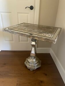 Vintage JOHN RICHARDS Gold Heavy SIDE ACCENT TABLE Mirror Hand Painted Pedestal