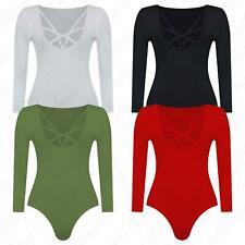 Womens Long Sleeve Cross Strings Starweb Front Ladies Bodysuit Leotard Top 8-22