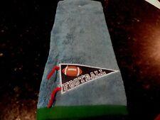 NWOT Blue Hand Towel FOOTBALL Pennant Sports Fun Sport theme 100% cotton green