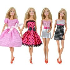 4 Pcs Fashion Dolls Clothes Mini Dress Casual Wear Lady Skirt for Girl Doll A