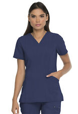 Dickies Scrubs V Neck Top With Patch Pockets Dk755 Nvyz D-Navy Free Ship