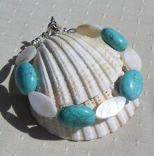 "Turquoise Magnesite & White Mother of Pearl Gemstone Bracelet ""Embo"""