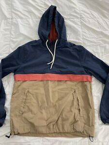 MARINE LAYER Size M Mens 1/4 Zip Hooded Windbreaker Sailing Jacket