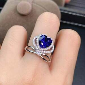 3Ct Heart Shape Blue Sapphire Halo Crown Engagement Ring 14K White Gold Finish