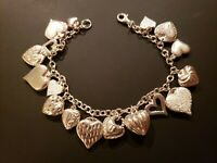 NEW Vintage STERLING SILVER (17) HEART CHARM BRACELET PUFFY CUT STIPPLED 7""