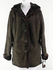 Big Chill NEW $160 Sz S Brown Poly Faux Fur Lined Hooded Coat E284