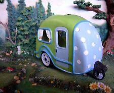 Solar  RV Trailer Wagon Lime Green w Polka Dots MI 54071 Miniature Fairy Garden