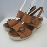 Dansko Womens 7.5 - 8 LIght Brown Buckle Ankle Strap Sandals Clogs EU 38