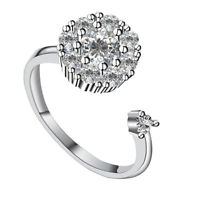 Charm Women Open Ring Zircon Micro-inlaid Spinning Rotating Rings Jewrlry Hot J