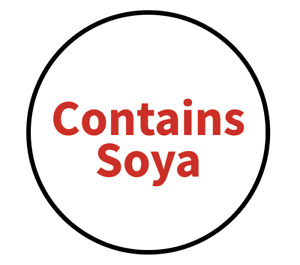 """""""Contains Soya"""" Food Allergy Labels - Red - 19mm (117 per sheet)"""