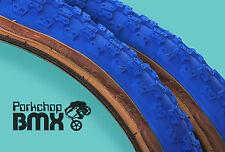 "Kenda Comp 3 III old school BMX skinwall gumwall tires 20"" X 2.125"" BLUE (PAIR)"