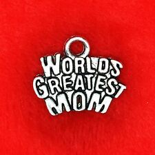 6 x Tibetan Silver World's Greatest Mom Charm Pendant Finding Beading Making