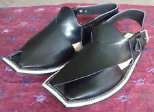 Para hombres Cuero peshawari Chappal Pakistani Hecho a Mano Negro Abrochado Eid Sandalia