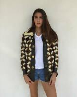 Vintage VTG 1960s 60s Patchwork Blonde Brown Mink Fur Leather Jacket Coat