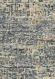 Modern Abstract Sari Silk Rug, 6'x8', Black, Hand-Knotted Silk Pile