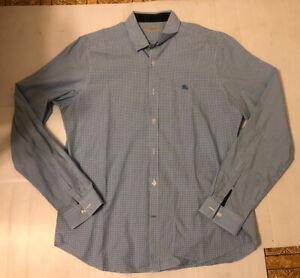 Burberry Brit Mens Size XL Button Down Shirt Light Blue Plaid Long Sleeve