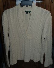 XL WORN ONCE Ralph Lauren Creme V-Neck Sweater with Bell Sleeves