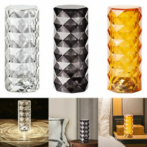 Crystal Table Lamp Bedside Night Light Fashionable Rechargeable for Bedroom