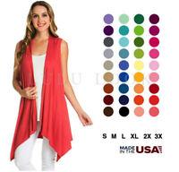 Womens Sleeveless Solid Cardigan Asymmetrical Hem Open Front Wrap Drape Wrap USA