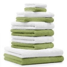 """Lot de 10 serviettes """"Premium"""" vert pomme et blanc, 2 serviettes de bain, 4 serv"""