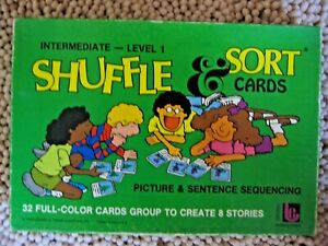 Vintage TREND Shuffle&Sort Picture Sentence Sequencing Cards Intermediate Level1