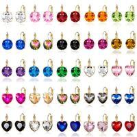 Fashion Elegant Round Crystal Rhinestone Ear Stud Earrings Women Wedding Jewelry