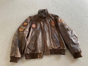 Redskins Brown Leather Vintage Bomber Jacket Motorcycle Coat XL Extra Large