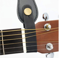 Black Leather Guitar Strap Holder with Safe Lock Button for Acoustic Guitar