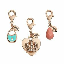 NEW Juicy Couture Lock, Heart, Crown & Bead Charm Set