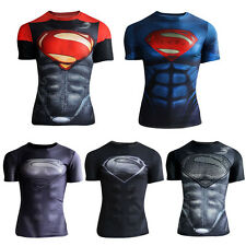Superman Breathable Short Sleeve Tops Men Muscles Fitness Running Tight T-Shirt
